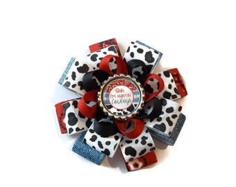 Shhh...I'm Huntin' Cowboys Loopy Flower Bow (3 1/2 inches wide)