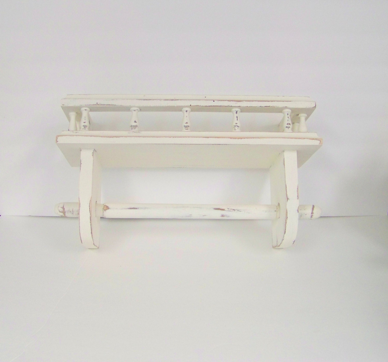 shabby chic paper towel rack and shelf white by