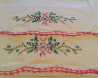 Vintage Pillowcases Hand Embroidered in Pink Green and Blue