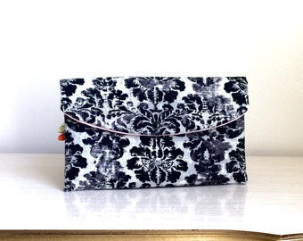 Gray and black Damask clutch/ Wedding Gift Ideas/clutch/gift idea