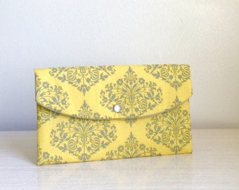 Damask clutch,gray yellow clutch,Christmas gift,mother of bride,bachelorette gift,sisters gift