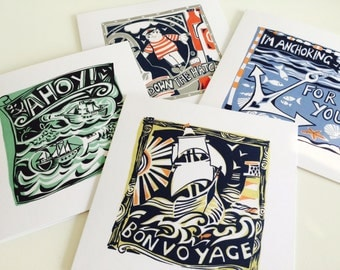 Ahoy!-Pack of 4 nautical greeting cards