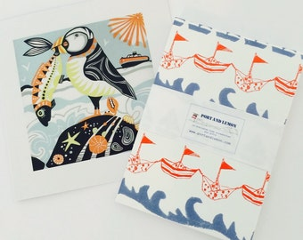 """The perfect thank the teacher gift our """"Proud as a puffin"""" card with our """"Waves"""" notepad"""
