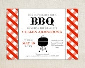 Summer BBQ red gingham grill party invitations