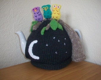 KNitted Tea Cosy, Cosie, Cozy Three Owls on a Branch Shabby Chic.