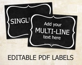 Editable labels Chalkboard labels for mason jars Editable printable labels Editable tags Editable PDF printable chalkboard diy labels