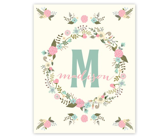 Custom monogram nursery print