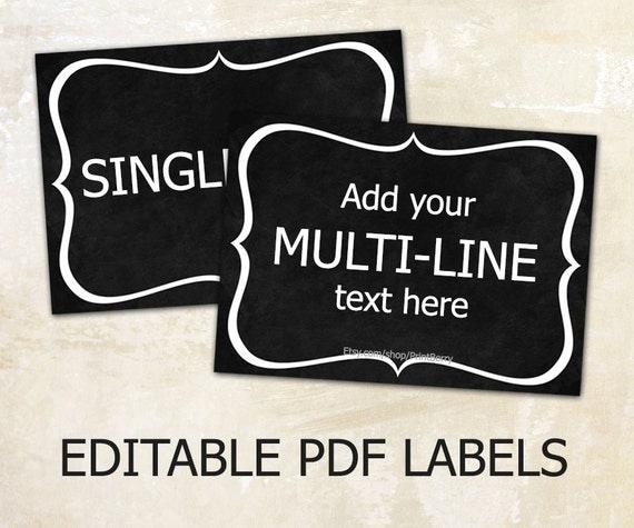 Editable labels chalkboard labels for mason jars editable for Chalkboard labels printable