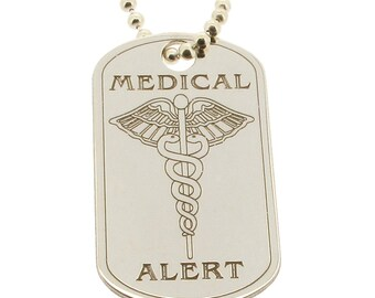 Sterling Silver Medical Alert Dog Tag Pendant or Necklace (small) - Medic Symbol - with Free Personalised Engraving and Chain Option