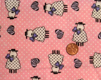 """Bow tie sheep fabric - Flannel / 58 """" x 20"""""""