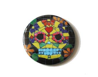 Candy Skull Pocket Mirror, Sugar Skull, Mexican Skull.