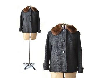 Persian Lamb Coat Black Coat Vintage Coat Small Coat 1950s Coat, 50s Coat, Womens 1950s Coat, womens 50s Coat, Womens Clothing, Short Coat