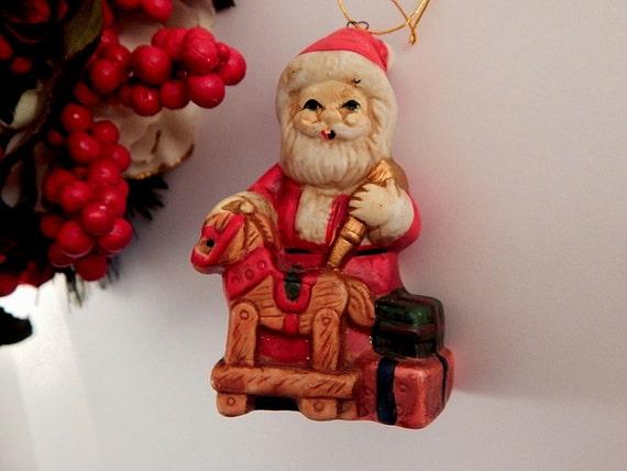 Santa claus ornament ceramic toy shop figurine vintage