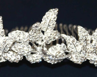 Silver Leafs Haircomb with Crystals (HLDtiara-187)