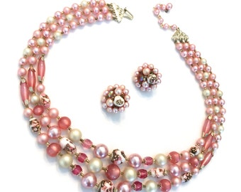 Japan Shades of Pink Three Strand Beaded Necklace and Earring Demi