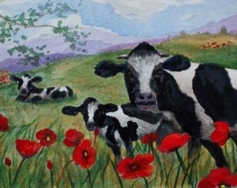 Cows in a Poppy Field art print on photo paper  approx 6x4 black and white cow red poppy red white and black art sky artbyevelynmarie