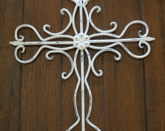 Cross Wall Decor / Antique White Or Pick Color / Metal Cross / Christian  Decor /