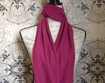 Womens Black and Hot Pink Polka Dot infinity/loop scarf.This scarf is called the Pippi