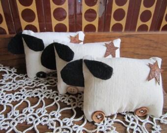 Three Primitive Sheep Bowl Ornies/Primitive Sheep Bowl Decoration/Country Sheep.