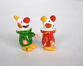 Miniature Clown Figurines - Wooden Clown Figures - Miniature Figurines - Wood Clowns - Happy Clowns - Hand Painted Figurines