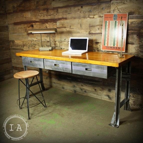Vintage industrial butcher block steel desk by industrialartifact - Butcher block kitchen work table ...