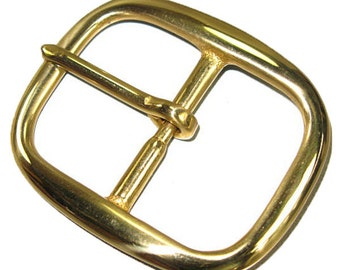"Center Bar Buckle 1-1/2"" (38 mm) Solid Brass Hand Polished 1722-01"