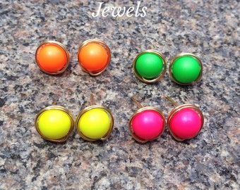 Neon Swarovski Pearl Stud Earrings