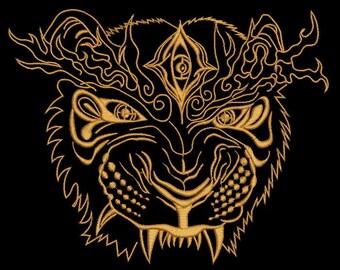 oriental lion, three sizes  - Machine Embroidery Design