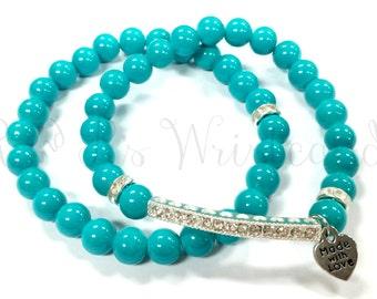 Beaded Bracelets, Rhinestone Bar, Teal Beaded Bracelet, Bracelet Set, Handmade, Custom Beaded Jewelry, Women's Jewelry, Women's Bracelet