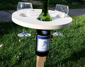 Picnic Wine Table, Wine Table, Picnic, Wine Rack,Wine,Outdoor Table, Poolside Table, Camping Gear,Picnic Basket Type Gift, Wedding Gift