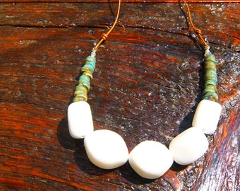 White Subtle Sparkle Stone with Ceramic Earth Beads on Leather