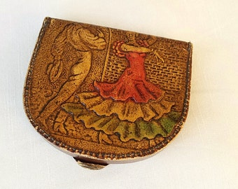 Vintage Leather Coin Tray / Coin Purse, Excellent Useable Condition, 1970s Coin Purse Flamenco Dancers
