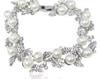 "Bridal Bracelet Wedding Bracelet ""Silver"" White Pearls Wedding Bracelet Bridal Jewelry Wedding Jewelry Style-135"