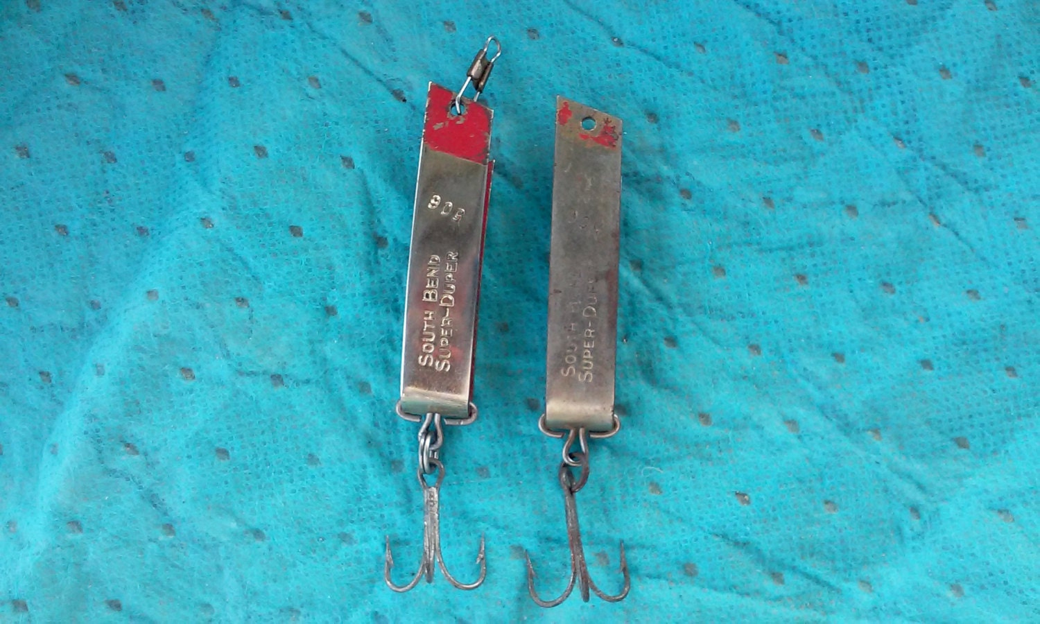 Vintage south bend super duper 506 chrome red 1 by for Super duper fishing lure
