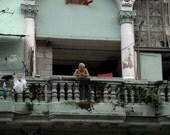 Cuban Man on his balcony in Havana (PR) (16 x 20 canvas)