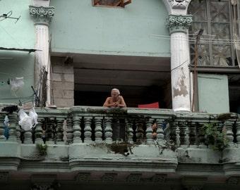 Cuban Man on his balcony in Havana (PR) (canvas)