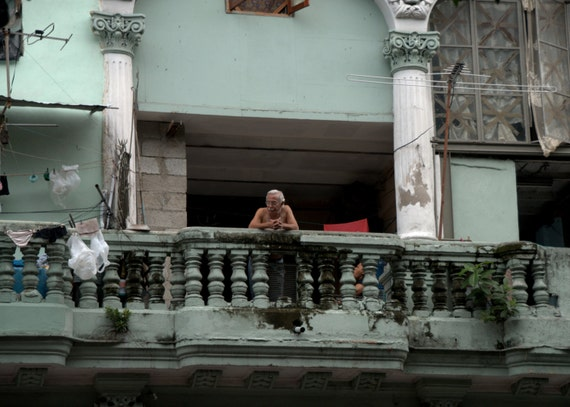 Cuban Man on his balcony in Havana (PR) (canvas)
