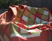 Red, Green, White, and Yellow Christmas Holiday Oversized Lap Quilt