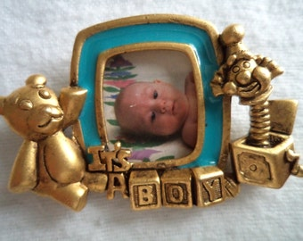 Vintage Signed Danecraft  Gold pewter Its a Boy Photo Frame Brooch/Pin