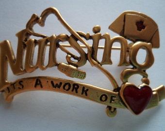 Vintage Signed Danecraft  Antique Gold pewter Nursing  Brooch/Pin