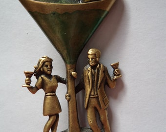 Vintage Signed JJ Antique Gold Celebration Glass Couple Brooch/Pin
