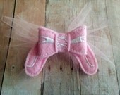 Light Pink Ballerina Bow Hair Clip, Your Choice of Clip Style, Made of Acrylic Felt and Tulle, Made in USA, Custom Hair Clip, Ballet Shoes