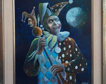 Jester clown under moon mystical original vintage oil painting by Dan Wuthrich