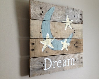 "Moon and Stars 14""x14"",Rustic wall art,nursery,pallet art,baby,blue moon,good night,I Love You To The Moon And Back,Night sky, sleep tight,"