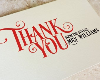 """20 From The Future Mrs Personalized """"bride to be"""" Bridal Shower Modern Victorian Thank You Note Card"""