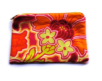 Reusable Snack Bag Zipper Amy Butler Orange Disco Tulip