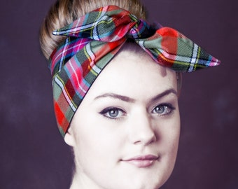 HS1 Luxury Highland,Tartan Headscarf, Scottish, Punk, Retro, Rockabilly, Kawaii, Tartan, Vintage, Dolly, Pinup Headscarves