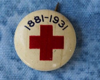 Vintage Red Cross Button