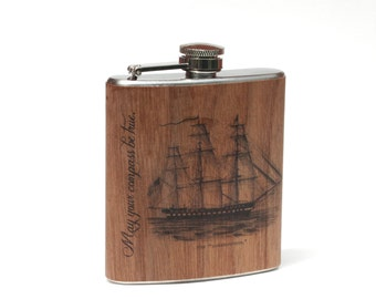 Real wood wrapped flask, Boat gift, Boat Captain flask