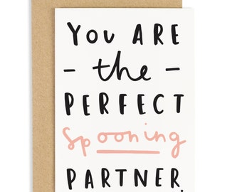 Perfect Spooning Partner Valentine's Card - Spooning Card - Anniversary Card - CC32
